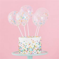 Mini confetti balloon cake toppers
