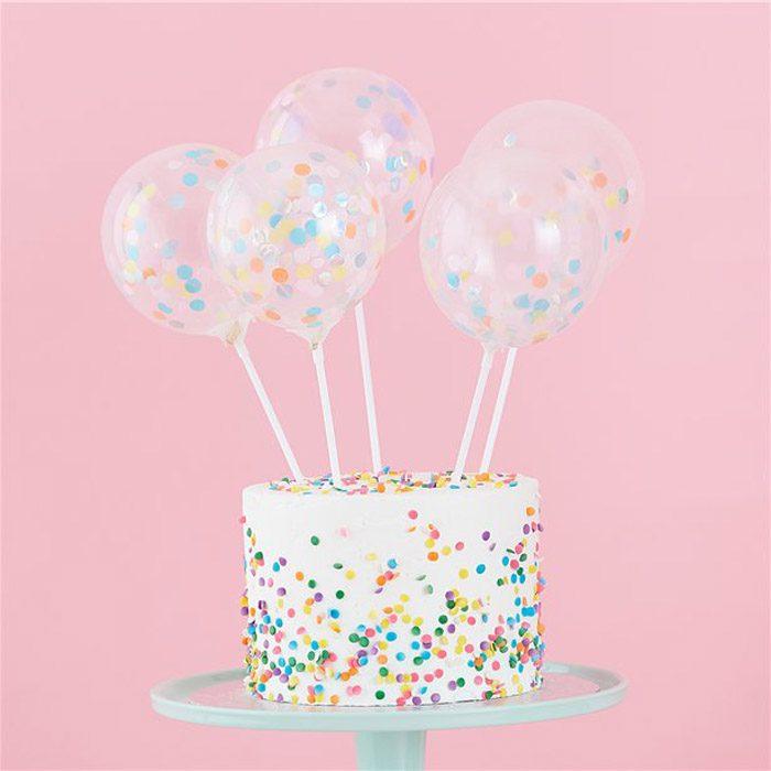 Mini confetti balloon cake toppers