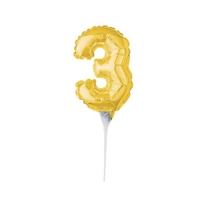 Number 3 mini gold balloon cake topper
