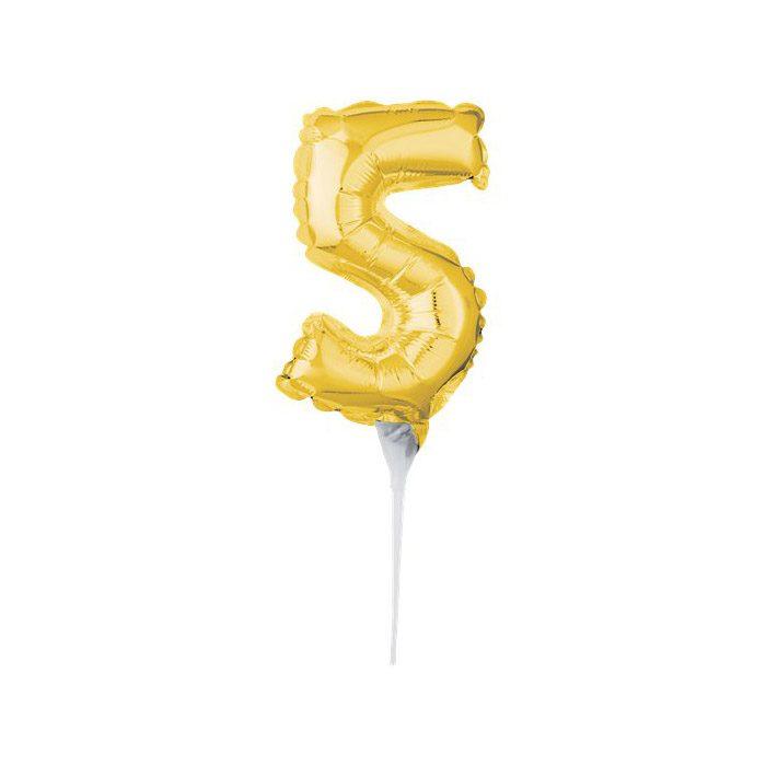 Number 5 mini gold balloon cake topper