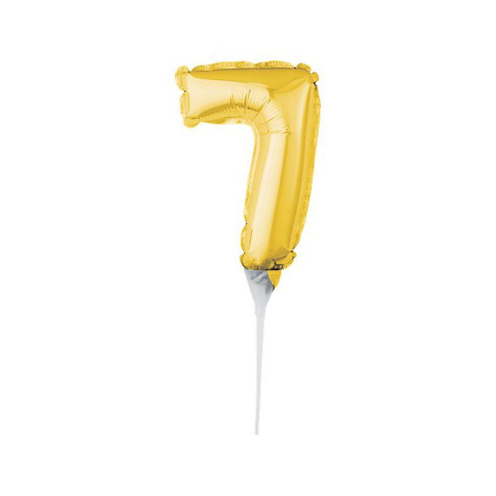 Number 7 mini gold balloon cake topper
