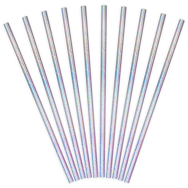 iridescent paper straw