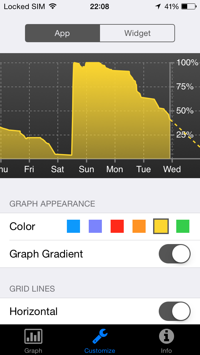 Screenshot of Battery Graph Widget app for iPhone, iPad and iPod touch