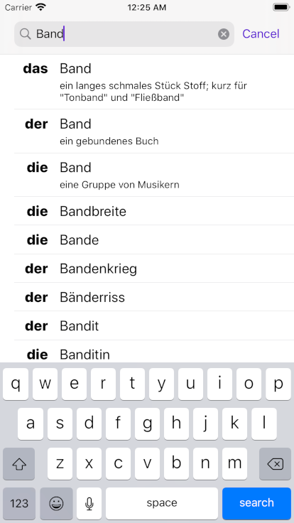 Screenshot of Der Die Das app for iPhone, iPad and iPod touch