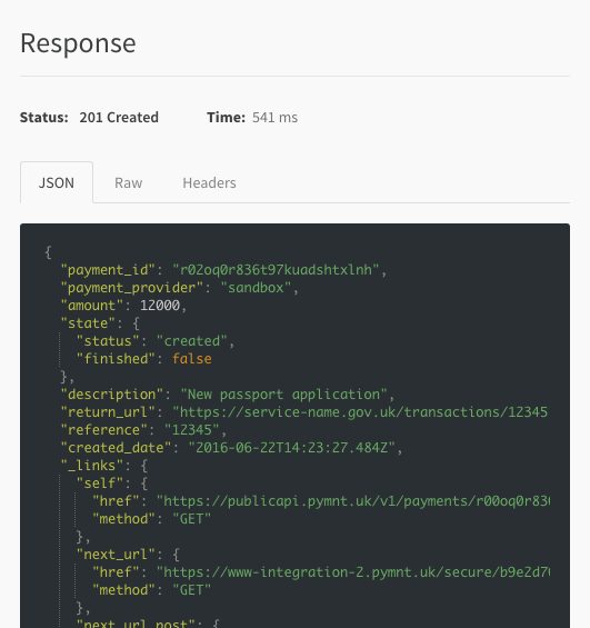 Pay api explorer response