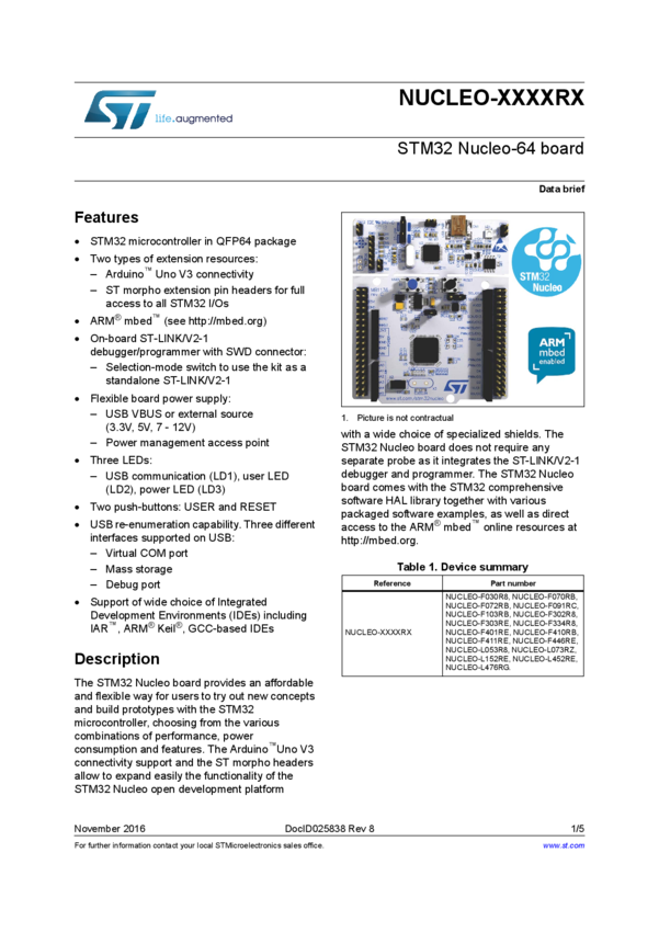 STM32 Nucleo-64 development board with STM32F401RE MCU