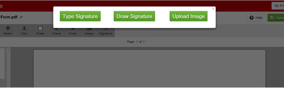 sign PDF options