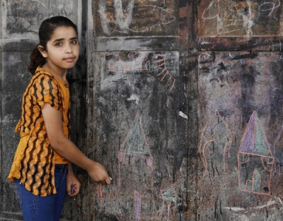 Fatima* lost her brother during the conflict. Fatima has been attending individual counselling and group therapy sessions through a Save the Children project. Her mother says these have helped Fatima to be able to cope with the changes in their lives. Photo: Anas Baba/Save the Children