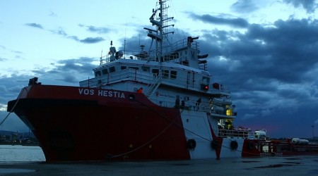 Save the Children's search-and-rescue ship Vos Hestia leaves the port of Augusta on Wednesday September 7th.
