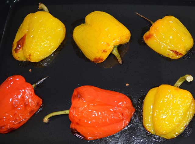 Peppers roasting for stuffing