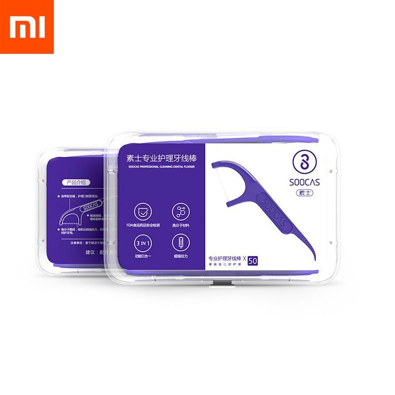 Xiaomi Mijia dantų siūlai su patogiu laikikliu (50 vnt. dėžutė)