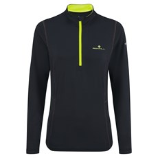Ron Hill Women's Thermal 200 1/2 Zip | Black / Fluo Yellow