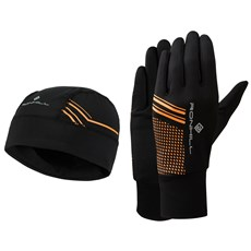 Ron Hill Beanie & Glove Set | Black / Fluo Orange