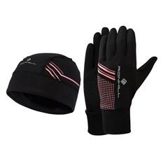 Ron Hill Unisex Beanie and Glove Set | Black / Hot Pink