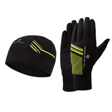 Ron Hill Unisex Beanie and Glove Set | Black / Fluo Yellow