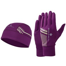 Ron Hill Beanie & Glove Set | Grape Juice / Fluo Yellow