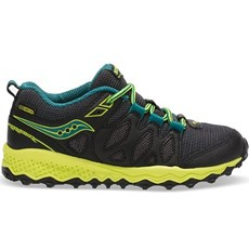 Saucony Junior Peregrine Shield | Black / Lime