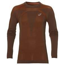 Asics Men's Seamless LS | Dark Grey / Red Clay