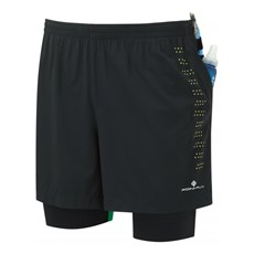 Ron Hill Men's Infinity Fuel Twin Short | Black / Fluo Yellow