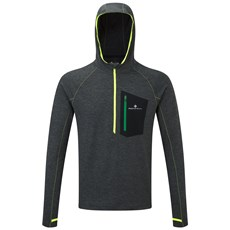 Ron Hill Men's Momentum Victory Hoodie | Charcoal Marl / Fluo Yellow