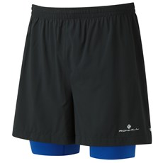 "Ron Hill Men's Stride Twin 5"" Short   Black / Cobalt"