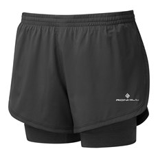 Ron Hill Women's Stride Twin Short | Black / Charcoal Marl