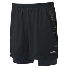 Ron Hill Men's Infinity Fuel Twin Short | Black / Charcoal