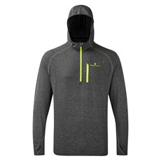 Ron Hill Men's Momentum Hoodie | Grey Marl / Fluo Yellow