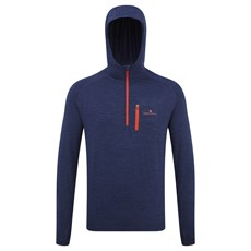 Ron Hill Men's Momentum Workout Hoodie | Midnight Blue Marl / Lava
