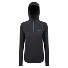 Ron Hill Women's Momentum Workout Hoodie | Charcoal Marl / Sky Blue