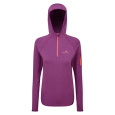 Ron Hill Women's Momentum Workout Hoodie | Grape Juice / Hot Coral