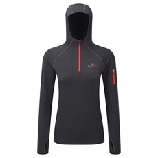 Ron Hill Women's Momentum Hoodie | Charcoal Marl / Hot Pink