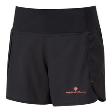 Ron Hill Women's Stride Revive Short | Black/ Hot Coral
