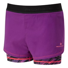 Ron Hill Women's Momentum Twin Short | Grape Juice / Hot Coral