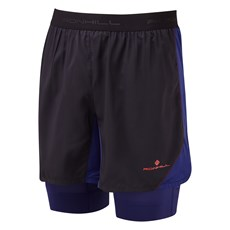 Ron Hill Men's Stride Revive Twin Short | Black / Midnight Blue