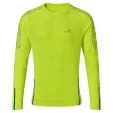 Ron Hill Mens Life Night Runner LS Tee | Fluo Yellow / Flame