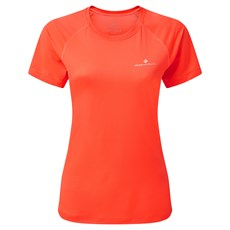 Ron Hill Womens Tech SS Tee | Hot Coral / Bright White