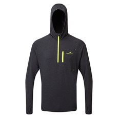 Ron Hill Men's Life Workout Hoodie | Charcoal Marl / Fluo Yellow
