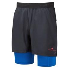 Ron Hill Mens Tech Ultra Twin Short | Black / Azurite