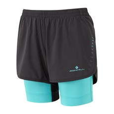 Ron Hill Women's Marathon Twin Short | Black / Peacock