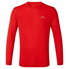 Ron Hill Mens Tech LS Tee | Flame / Fluo Yellow