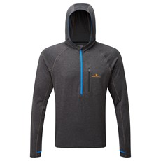 Ron Hill Men's Momentum Victory Hoodie | Charcoal Marl / Electric Blue