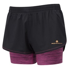 Ron Hill Women's Stride Twin Short | Black / Razzmatazz Marl