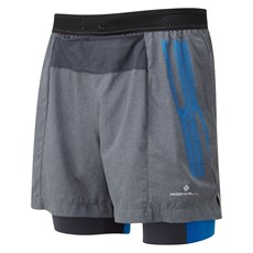 Ron Hill Men's Infinity Marathon Twin Short | Grey Marl / Electric Blue