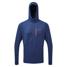 Ron Hill Men's Momentum Workout Hoodie | Midnight Blue / Flame