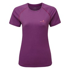 Ron Hill Women's Everyday SS Tee | Grape Juice Marl / Hot Coral