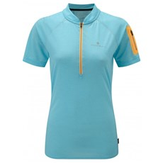 Ron Hill Women's Infinity SS Zip Tee | Surf / Neon Peach