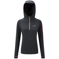 Ron Hill Women's Momentum Victory Hoodie | Charcoal Marl / Thistle