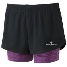 Ron Hill Women's Stride Twin Short | Black / Thistle Marl