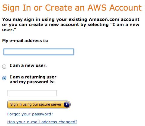 Amazon's Old Login Screen
